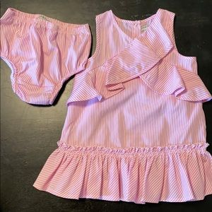 Pink and white striped habitual dress with ruffles